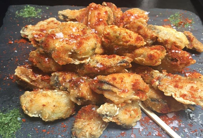 Mejillones en tempura con pimenton